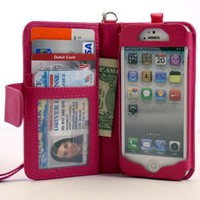 Navor iPhone Life Protective Deluxe Book Style Folio Wallet Leather Case with Removable Strap for iPhone 5 Multifunctional - Hot Pink:Amazon:Cell Phones &amp; Accessories