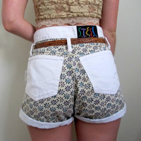 Vintage High Waist Waisted Shorts White Floral Print Denim Summer