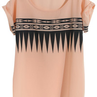 ROMWE | Pink Sawtooth Print T-shirt, The Latest Street Fashion