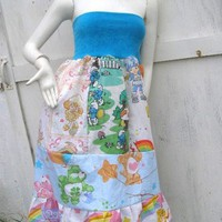 80s Retro Rainbow Brite Dress Patchwork Skirt Smurf Barbie CAREBEAR