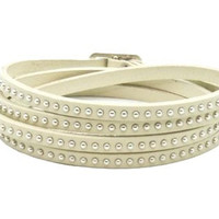 Studded White Leather Wrap Bracelet
