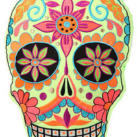 Karma Living Home Goods Dia De Los Muertos Pillow in Yellow