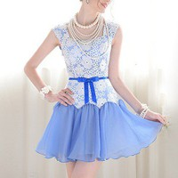 Milifashion - White lace mosaic blue flouncing bow Slim Pompon fishtail dress