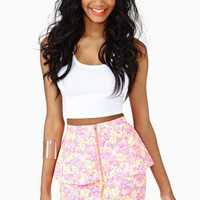 Neon Garden Peplum Skirt