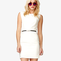 Darted Sheath Dress w/ Skinny Belt | FOREVER21 - 2040496166