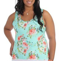 plus size ditsy floral racer back tank with lace back and high low hem - 1000047159 - debshops.com