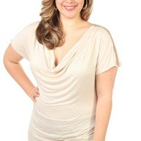 plus size short sleeve ruched side tunic with shoulder trim - 1000045567 - debshops.com