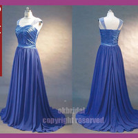 Free shipping royal blue prom dress, cap sleeve prom dress, blue prom dress, long blue prom dress, chiffon prom dress, 1305