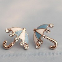 Beautiful rhinestone umbrella earrings