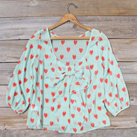 Speckled Hearts Blouse in Mint, Sweet Cozy Lace Tops