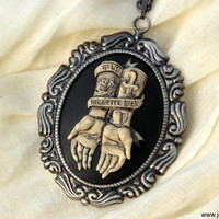 No Regrets - Tattoo hands skeleton skull cameo necklace, Victorian Gothic jewelry, dead zombie psychobilly rockabilly day of the dead sale
