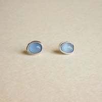 Sweet Blue Oval Stud Earrings - Gift under 10 - Gift for Her
