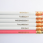Hello Weekend Pencils - White, Pink, &amp; Gold, Set of 6