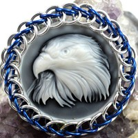 Eagle Blue and Silver Chainmaille Wrapped Cabochon