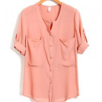 Pink Chiffon Blouse with Cropped Sleeves and Twin Chest Pockets