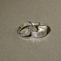 Riveting hammered sterling silver ring set or weddings bands