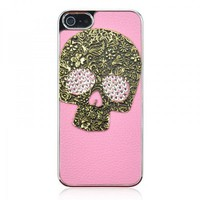 3D Cool Skull Mixed Bling Crystal Rhinestone Leather Case For iPhone 5