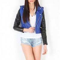 lovers + friends Double Jacket in Royal | SINGER22.com