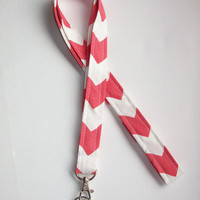 Lanyard  ID Badge Holder - Coral Chevron zigzag Zig zag  - Lobster clasp and key ring