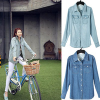 Womens Denim Shirt Long Sleeve Slim Side Pocket Jeans Shirt Top Blouses Coat