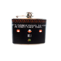 Stainless Steel Hip Flask with Zelda wrap - 4oz 6oz 2oz 1oz - classic retro geekery just plain awesome