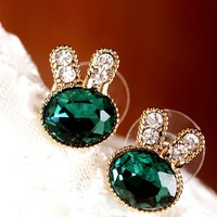 Cute Rhinestone Bunny Earrings