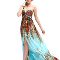 Amazon.com: Ever Pretty Strapless Rhinestones Beads Printed Split Chiffon Evening Dress 09752: Clothing