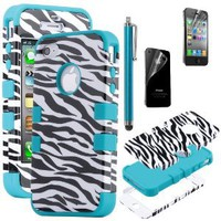 Amazon.com: Pandamimi ULAK(TM) 3-Piece Hybrid High Impact Case Black Zebra Blue Silicone for iPhone 4 4S with Screen Protector and Stylus: Cell Phones & Accessories