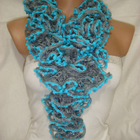 Hand knitted Gray&Blue Ruffled scarf by Arzus