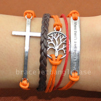 Infinity bracelet ,cross bracelet, treen bracelet ,leather and cotton ropes cuff bracelet, jewelry bracelet,friendship gifts d-319