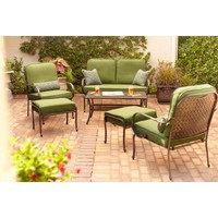 Hampton Bay Fall River 4-Piece Patio Seating Set with Moss Cushions-DY11034-3PCLSR at The Home Depot