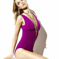 Badgley Mischka Bella Shirred V-Neck One Piece #BM323 - Product Details 