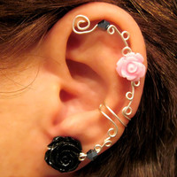 "Non Pierced Ear Cuff  ""Roses are Pretty"" Cartilage Conch Cuff Silver tone Prom"