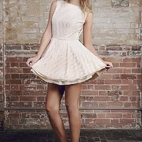 Exposed V Back Lace Tutu Dress