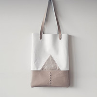 APRIL SALE Silver Mountain Leather Tote bag No. TL- 4001