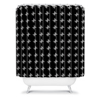 DENY Designs Home Accessories | Wesley Bird Cross Out Black Shower Curtain