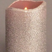 "Amazon.com: LED Melted Wax Flameless Glitter Candle, Silver in Color, 3""D x 4""H: Home & Kitchen"