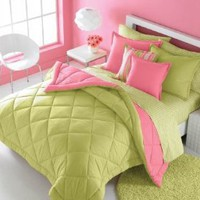 Victoria Classics Solid Reversible Twin Comforter Set, Pink/Green: Home & Kitchen