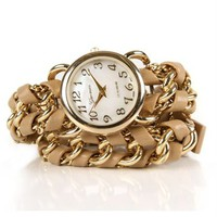 SALE-Beige Chain Wrap Watch