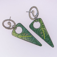 Handmade Earrings Green Enamel and Sterling Silver
