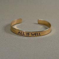 Bronze All is Well cuff bracelet