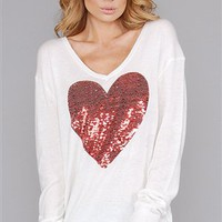 Wildfox  Clean Black Sequin Heart V Neck Sweater