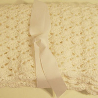 White Baby Blanket--Crochet-Baby Shower Gift --Made in the USA--