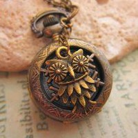 Owl See Thru Pocket Watch Necklace in Bronze by trinketsforkeeps