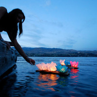 Hot! 20Pcs Floating Water Light Paper Candle Lotus Lanterns Chinese Wishing Lamp