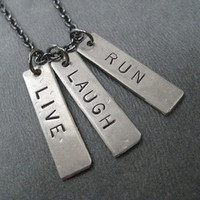 LIVE LAUGH RUN - 3 Pendant Inspirational Running Necklace on 18 inch gunmetal chain - Runner Necklace