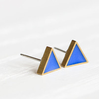 Mini Triangle Post Earrings in Cobalt Blue - Hypoallergenic Studs