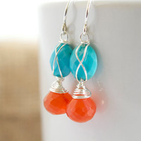 Carnelian and Turquoise Dangle Earrings, Turquoise Dangle Earrings, Delicate Jewelry, Mother&#x27;s Day Gifts