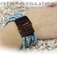 SALE Bali Bracelet turquoise glass beads hand carved wood buckle stretch bracelet for women great for summer gifts Catherine Cole Studio