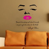 Marilyn Monroe Wall Decal Decor Quote Face PINK Lips Large Nice Sticker:Amazon:Everything Else